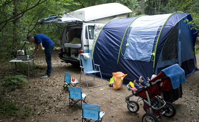 Cobb op de camping
