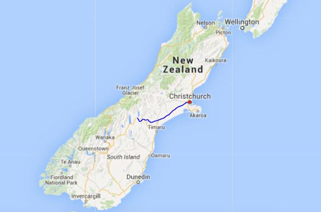 Kaart Zuidereiland NZ deel 2