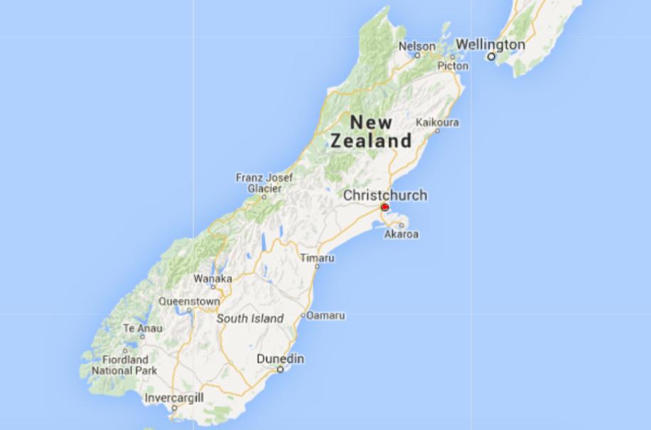 Kaart Zuidereiland NZ