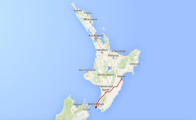 Route deel 1: van Wellington naar Napier (Nieuw-Zeeland)